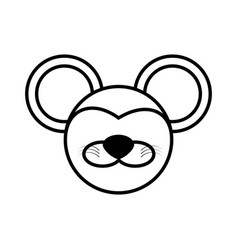 outline mouse head animal vector image vector image