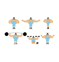 Strong retro athlete set poses Ancient bodybuilder vector image vector image