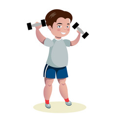cute boy exercising with dumbbells vector image