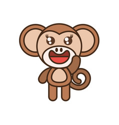 Cute monkey toy kawaii image vector