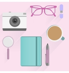 Office desk table flat design Top view Eps10 vector image