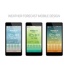 Template of weather forcast mobile aplication vector image vector image