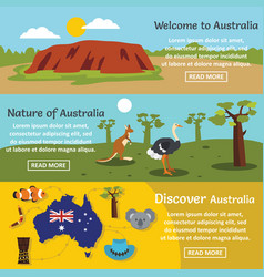 australia travel banner horizontal set flat style vector image vector image