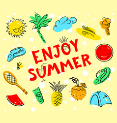 Enjoy summer lettering summer set doodle vector