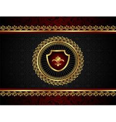 golden vintage frame with shield - vector image