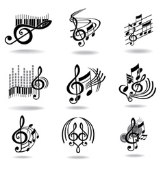 music notes set of music design elements or icons vector image vector image