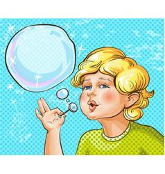 pop art of cute kid blowing vector image vector image
