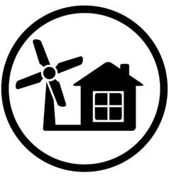 round wind mill icon for home alternative power vector image vector image