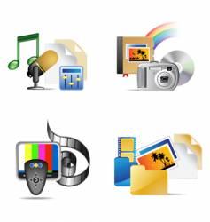 set of multimedia internet icon vector image vector image