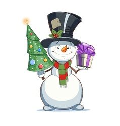 Snowman with gift vector image vector image