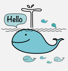 cute whale say hello on the sea vector image