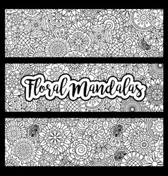 horizontal flyers with floral mandalas vector image vector image