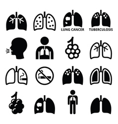 Lungs lung disease icons set vector image vector image