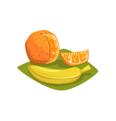 orange with cut piece and ripe banana on green vector image vector image