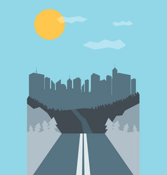 Retro road with mountain and city vector