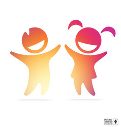 silhouette of happy children boy and girl vector image