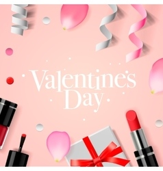 Valentines Day background with gift box cosmetics vector image vector image