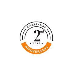 2nd year celebrating anniversary emblem logo vector