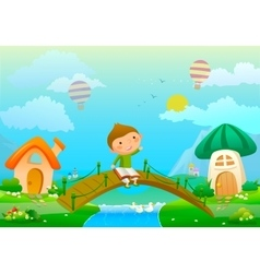 About boy with book and fairy vector