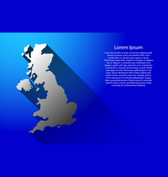 abstract map of united kingdom with long shadow vector image