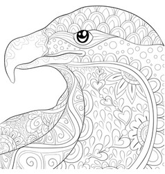adult coloring bookpage a cute eagle image for vector image