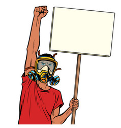 African man protest against polluted air isolate vector