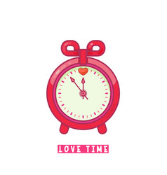 alarm clock with heart flat design style vector image