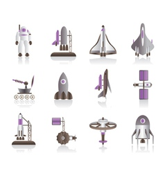 Astronaut space shuttle and spaceship vector image