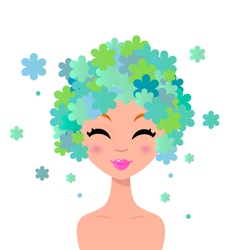 Beautiful woman with floral hairstyle vector