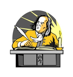 Ben Franklin Writing Retro vector