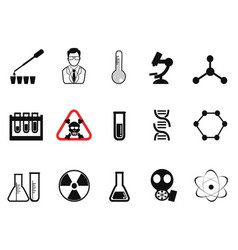 Black chemistry icons set vector