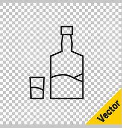 black line tequila bottle and shot glass icon vector image