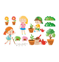 boy and girl doing garden work vector image