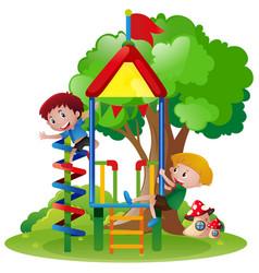 Boys climbing up playhouse in park vector