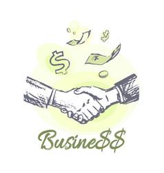 Business deal promotional emblem in form of sketch vector