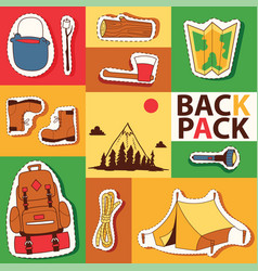 Camping stickers survival exploration tourism and vector