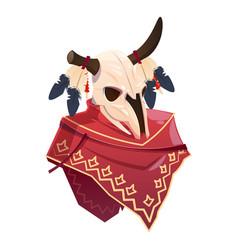 Cartoon buffalo skull clothing indian on white vector