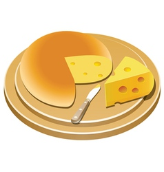 cheese and knife on a wooden plate vector image