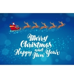 Christmas banner Santa Claus rides in sleigh in vector image