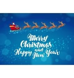 christmas banner santa claus rides in sleigh vector image