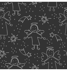 Christmas pattern with angels vector image