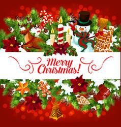 christmas snowman gifts greeting card vector image