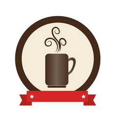 circular frame with porcelain mug coffee with vector image