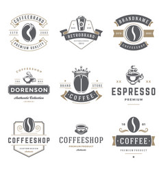 Coffee shop logos templates set bean silhouette vector