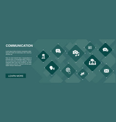 communication banner 10 icons conceptinternet vector image