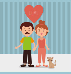 couple parents with cat characters vector image