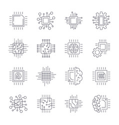 Cpu microprocessor and chips icons set vector
