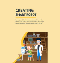 Creating smart robot diy workshop flat landing vector