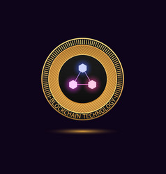 cryptocurrency golden coin in blockchain vector image