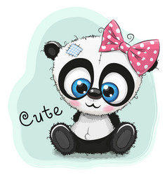 cute drawing panda girl on a blue background vector image